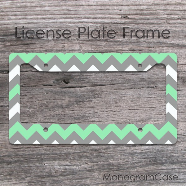 Mint and grey chevron customized car frame