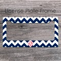Navy blue chevron and coral monogram car frame