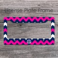 Navy blue hot pink zig-zag circle monogrammed frame