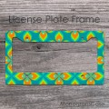 Vivid orange teal lime turquoise flowers license tag frame