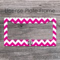Monogrammed white and magenta chevron car license frame