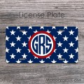 US stars flag design license tag with monogram