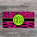 Ikat leopard zebra hot pink and lime on black pattern car tag