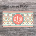 Chic tribal style indian design colorful pattern car tag