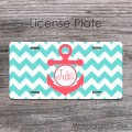 Aqua blue  bright coral anchor license plate