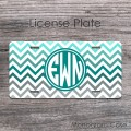 Grey teal and aqua blue zig-zag design circle monogram car tag