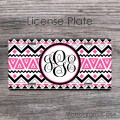 Aztec boho black pink gray tribal  pattern monogrammed car plate
