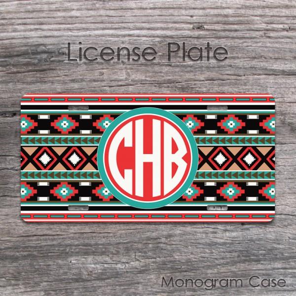 Aztec colorful motifs circle monogram license plate