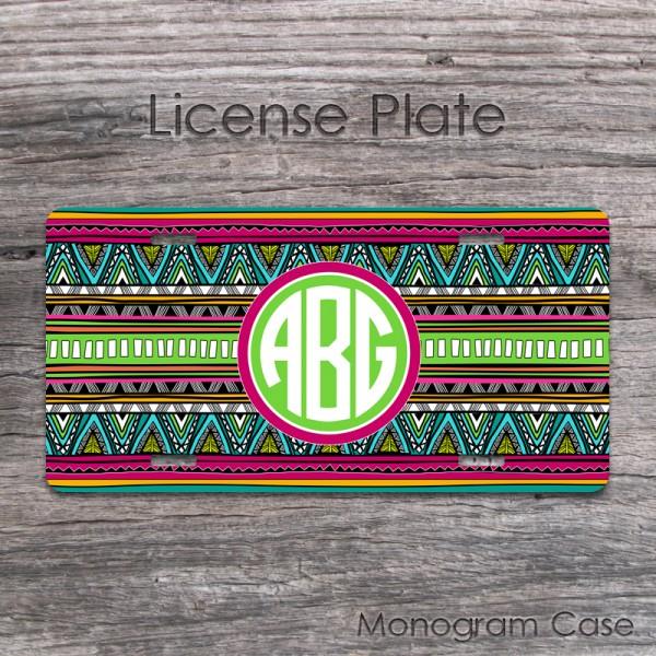 Aztec pattern boho chic monogrammed license tag