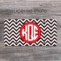 Red labeled monogram plate black and white chevron