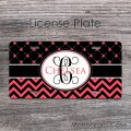 coral chevron on flowers design personalized front car tag