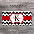 License Plate - Black chevron with Monogram Red Ribbon