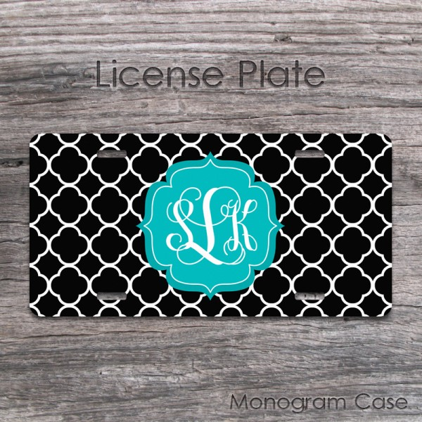 Black and white clovers teal label personalized car tag