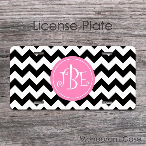 Black and light pink chevron monogrammed car tag