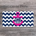Hot pink anchor and navy chevron personalized license plate