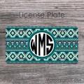 Aztec design teal tan navy western background mat