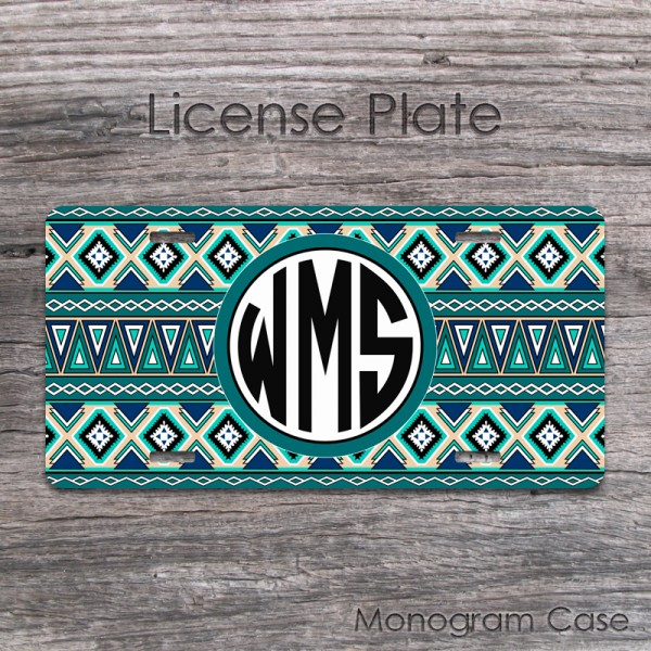Aztec design teal tan navy western background mat