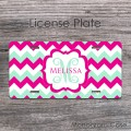 Mint on magenta chevron customized license plate