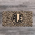 Cheetah pattern animal print monogrammed front tag