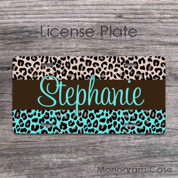 Cheetah print aqua tan brown fine lettering front plate