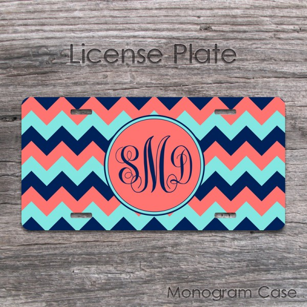 Chevron coral navy blue license tag with monogram