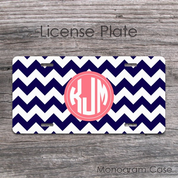 Personalized navy blue and coral chevron license plate tag