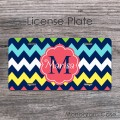 Colorful chevron flower label personalized license plate
