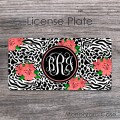 Elegant animal print zebra pattern coral flowers license plate