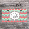 Coral mint gray zig-zag car plate monogrammed