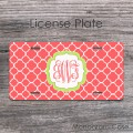 Monogrammed coral and lime quatrefoil license plate tag
