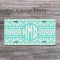 Cream aqua aztec tribal pattern license plate