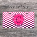 Cute ombre girly purple hot pink  chevron custom car tag