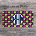 Cute little hot pink lime elephants pattern car tag