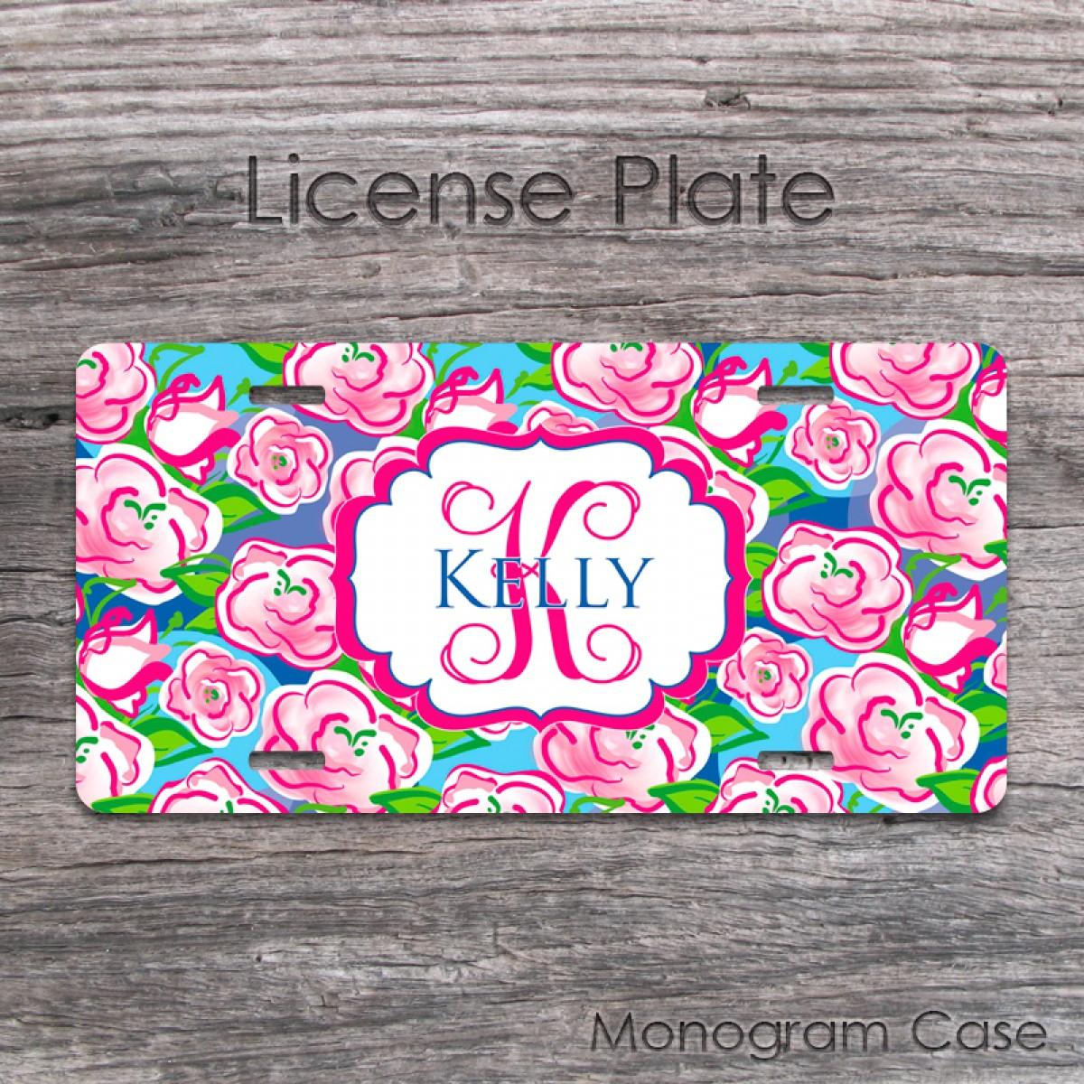 Pink Flowers Design Monogram License Plate Monogramcase