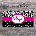 Cute zebra print polkadots hot pink stripe license plate