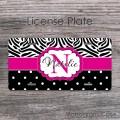 Cute zebra print polkadots hot pink stripe license plate