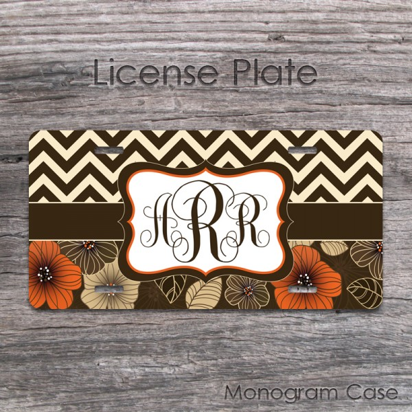 Designed orange brown flowers ivory chevron car tag