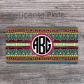 Ethnic tribal design navaho inspired car plate