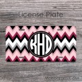 Garnet pink black white chevron disign license plate