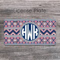 Geometric aztec decoration grey navy coral design front tag