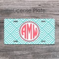 Geometric pattern aquamarine coral retro design front tag