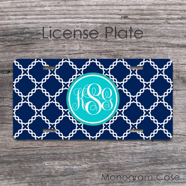 License plate customized with grid pattern and aqua blue label