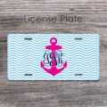 License car tag with vine monogram and hot pink anchor