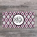 Ikat pink gray diamonds pattern vanity license car plate