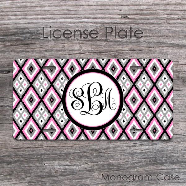 Ikat pink gray diamonds pattern vanity license car plate