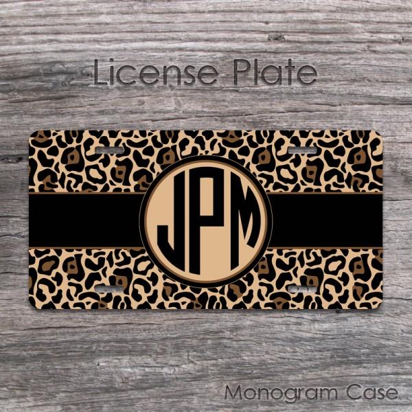 Leopard pattern brown skin color monogrammed car tag