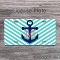 Light turquoise vine monogrammed license tag