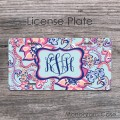 Floral light blue and peach pink pattern license car tag