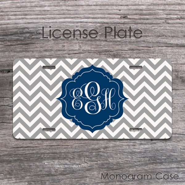 Light grey chevron monaco blue label car plate