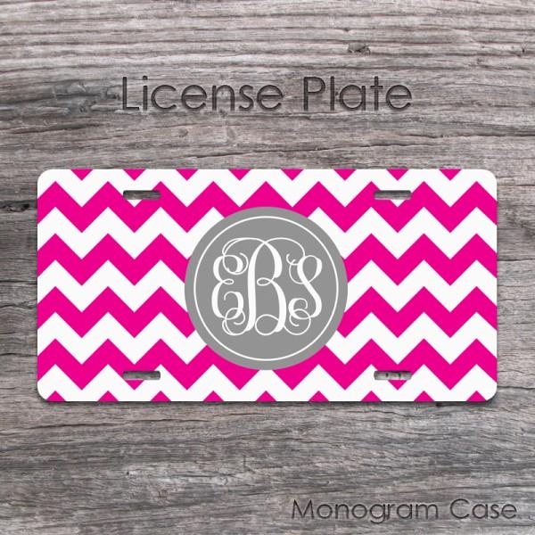 Magenta white zig-zag monogrammed license plate